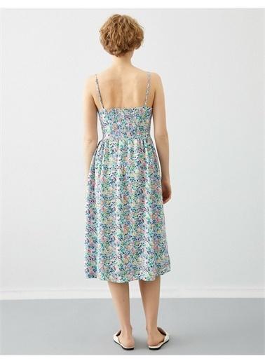 Koton Çiçekli Elbise Ince Askili Mor